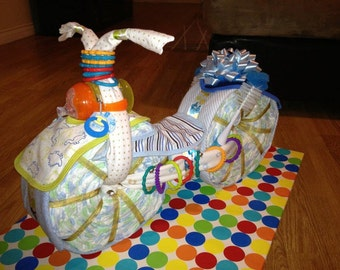 Motorcycle Diaper Cake, Baby Shower Diaper Cake, Fancy Baby Shower Gift