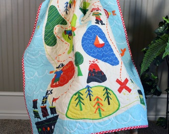 Pirate Baby Quilt, Nursery Bedding, Treasure Map baby Quilt, Crib Quilt, Just 4 Fun Quilting