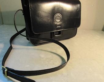 BEAUTIFUL Vintage 1980's Black Leather Satchel Style Handbag - Enzo Moreno - Nice!!