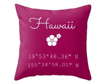 Hawaii Throw Pillow, Hawaii Decor, Longitude Latitude Pillow, Beach House Pillow , Choose Your colcor!