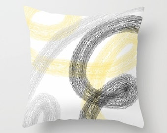 Yellow Grey Pillow Cover, Yellow Gray Black White,  Abstract Art, Accent Pillow Cover (A19) Decorative Pillow Cover Euro Sham Cover