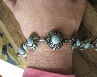 "Vintage Silver Tone Turquoise Glass Cabochon Circle Modernist Panel Bracelet 7"" (635)"