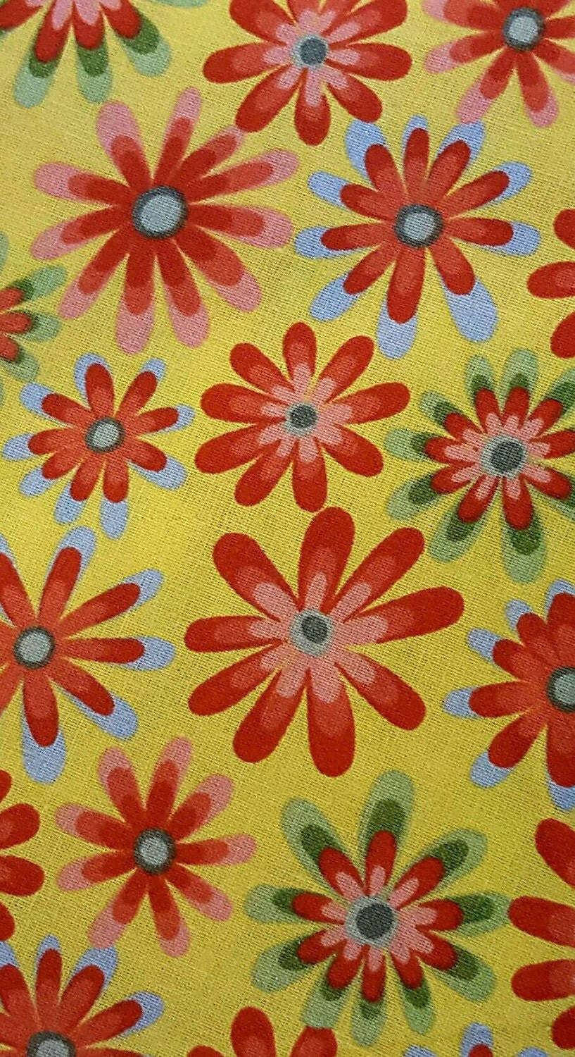 Yellow flower fabric sold by the yard ideal for quilting for Fabric sold by the yard