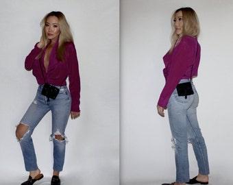 VTG 100% Silk Fuschia Purple Blouse Blazer Style Size M/L
