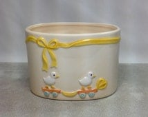 Vintage Ducks Ebeling Reuss E&R Golden Crown Small Bowl Planter Porcelain Ducklings Riding Scooter Yellow Ribbon Bow Baby's Room Nursery