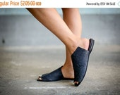 Sale 30% Blue Sandals, Leather Sandals, Handmade Sandals, Summer Shoes, Blue Summer Flats, Slide Sandals, Women Shoes, Charlotte
