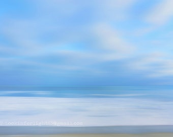 Ocean Photo / Abstract Pacific Ocean Art / Blue Ocean water photo / Minimalist Ocean Print / California Modern / Blue Cloudy Sky and Ocean