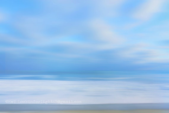 Ocean Photo / Abstract Pacific Ocean Art / Blue Ocean water photo / Minimalist Ocean Print / California Modern / Blue Cloudy Sky and Ocean