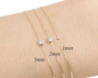 Tiny diamond gold bracelet,floating diamond bracelet, small simple diamond bracelet, solid 14k gold, 14k rose gold, 14k white gold dal-b101