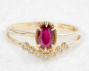 Ruby engagement ring & diamond wedding band set, Unique ruby wedding ring, Dainty cute ruby ring, Oval ruby engagement ring set, ado-w101