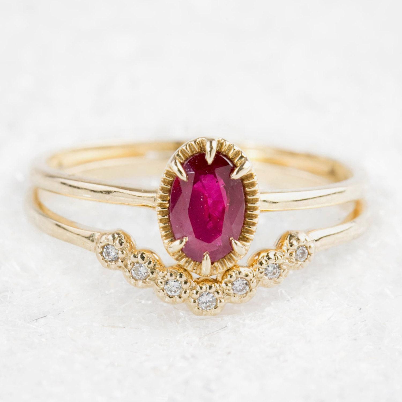 ruby engagement ring diamond wedding band set unique ruby