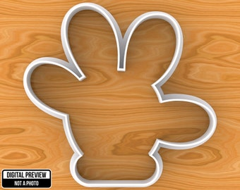 Mickey or Minnie Mouse Hand Cookie Cutter, Selectable sizes from 1in to 8in.