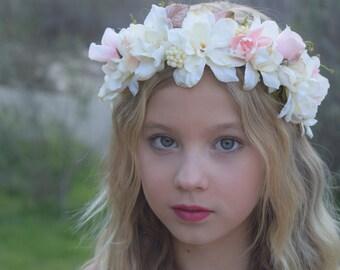 Ivory & Blush Flower Crown- Flower Girl Crown - Bridal Flower Crown- Flower Girl Wreath- Photo Prop - Baby Flower Wreath- Blush Hair Wreath