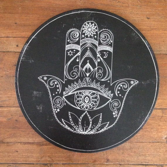 Hamsa Hand Feathers Round Wall Art, White & black Boho Design, 95cm Timber Porthole