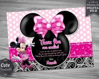 Minnie PINK POLKA DOT Bow Thank you card, Minnie, Thank you card, Minnie Thank you, Minnie Birthday Thank you card