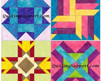 15 Inch Block Set of 4 Paper Piece Template Quilting Block Patterns Set 3 PDF