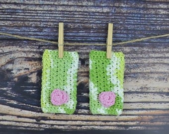 Green and Pink Flower Legwarmers - Baby