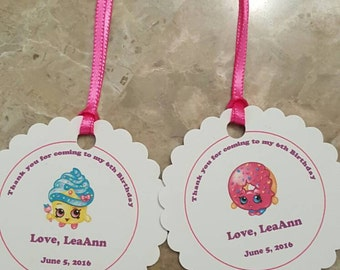 Personalized Favor Tags 2 1/2'', Thank You tags, Favor tags, Gift tags, Birthday Party shopkins