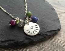 Positive necklace, positive jewellery, sterling silver necklace, positive gemstones, anxiety jewellery