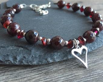 Garnet Bracelet, Gemstone Bracelet, Heart Charm Bracelet, Birthstone Bracelet, January Birthstone,