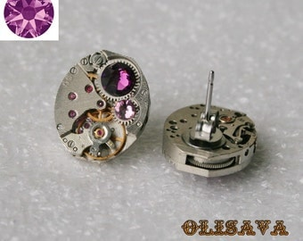 Steampunk Stud Earrings with  Mechanical Watch Movement and  Amethyst Swarovski crystals , Clockwork Earrings , Steampunk jewelry