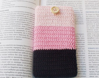Black Pink crochet iPhone cozy , phone holder, crochet phone case , iPhone Gadget Case, Cotton iPhone Pouch