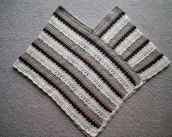 Lacy Striped Poncho, Crocheted, Adult/Teen