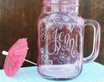 Personalised mason jar style glass, hand engraved with your message, Flowergirl, bridesmaid, wedding day custom gift shabby chic (MJ01)