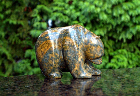 Stone bear soapstone carving hand made polished sculpture