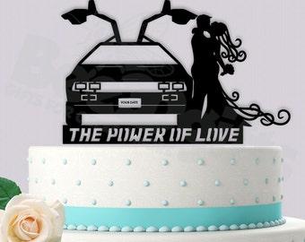 Delorean Time Traveling Couple Cake Topper