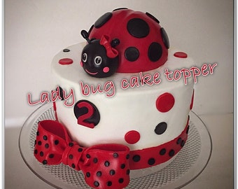 Lady bug cake topper