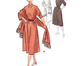 McCall's Sewing Pattern 8660 Misses' Dress, Stole - estimated vintage 1950's  Size:  16  Bust 34  Used