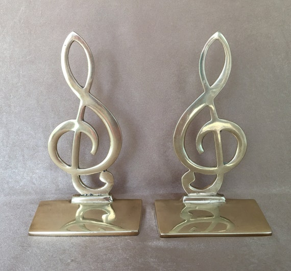 Brass bookends treble clef bookends musical decor gift for - Treble clef bookends ...