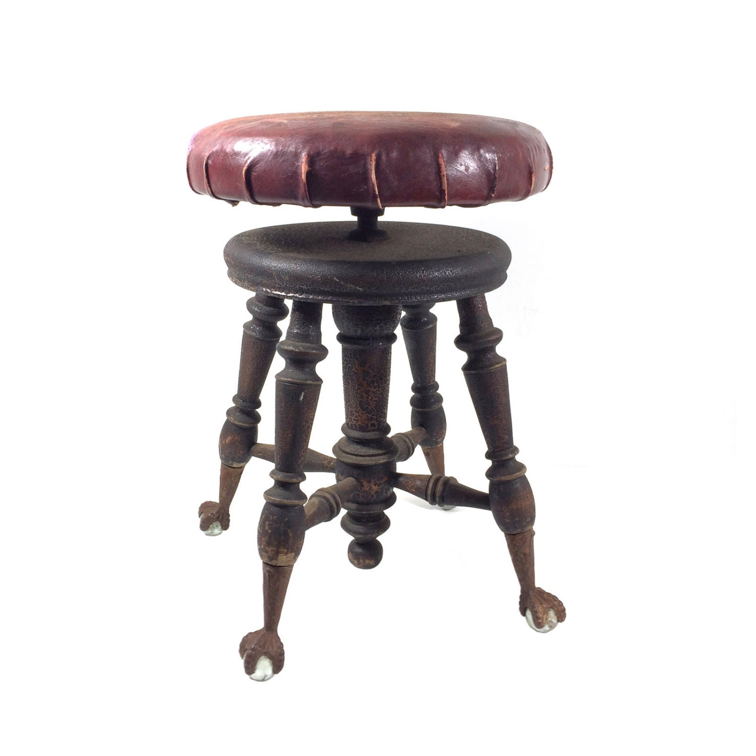 Antique Piano Stool With Claw Amp Ball Feet And Red Leather