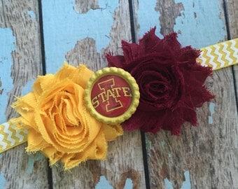 IOWA STATE University shabby flower headband Baby Little Girl Hair Bow - Photo Prop