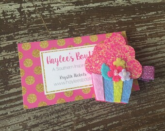 Cupcake Hair Bow - Cupcake Hair Clip - Birthday Hair Clip - Summer - Cupcake Birthday - Felt Hair Clip - Birthday Bow - Party Favor Glitter