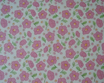 "Half Yard of 2015 Lecien Retro 30's Daisies and Dots Fabric in Pink. Approx. 18"" x 44"" Made in Japan"