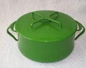 Mid Century Vintage Dansk Kobenstyle Emerald Green Enamel Pot Pan