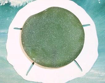 "Large 3"" Genuine, NATURAL Surf Tossed OCEAN Green Puerto Rico Sea Glass BOTTLE Bottom #1"