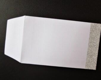 10 X Handcrafted Envelopes Shimmer glitter Silver Wedding Favour Thank you/ favour bag/ present/ money envelope/craft/christmas