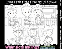Linus Pals Fight Fires Digital Stamps, Black White Image, Commercial Use, Instant Download, Line Art, Firefighter, Fire Truck, Occupation
