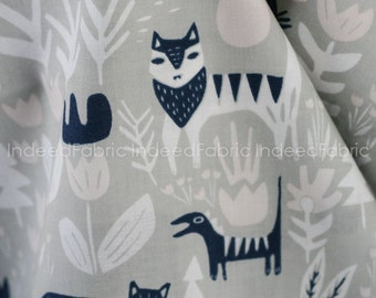 Lions Tigers and Bears Gray- Lore, Cloud 9 Fabrics, Certified Organic Cotton Fabric, Quilting Weight
