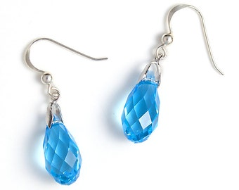 Swarovski Crystal Aquamarine Drop Earrings,  Sterling Silver Earrings, Blue Swarovski Drop Earrings