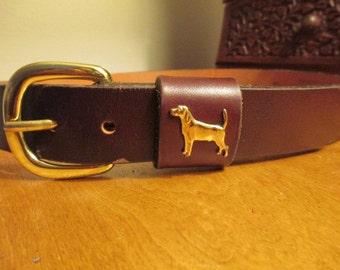 Dog embellished Leather Belt