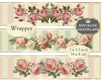 Shabby Chic Roses Wrapper Instant Download digital collage sheet E103 soap wrapping roses strips