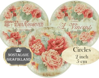 French Floral Circles 2 inch Instant Download digital collage sheet C212 Vintage Logos