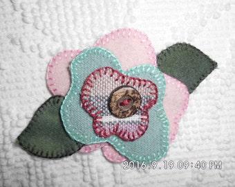 Handmade 100% Felted Wool Flowered Lapel Pin.