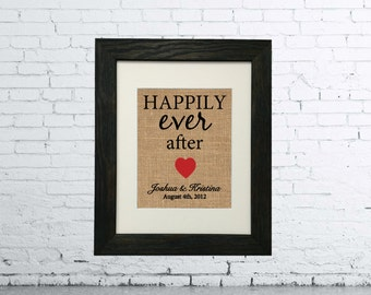8 x 10 Happily Ever After Burlap Print | Personalized Bridal Shower Gift | Personalized Wedding Gift for Couples