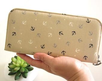 Anchor WALLET, Women's, Zippered wallet, Handmade women's wallet, Smartphone wallet, Long wallet, Custom wallet, Fabric wallet, Phone wallet
