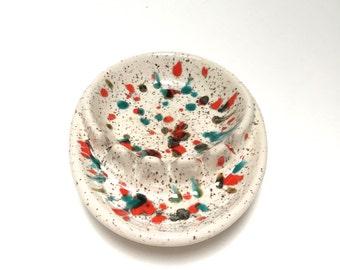 Drip Glaze Bowl - Drip Glaze Ashtray - Splatter Glaze